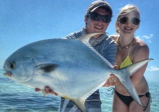 fly fishing for permit with a couple